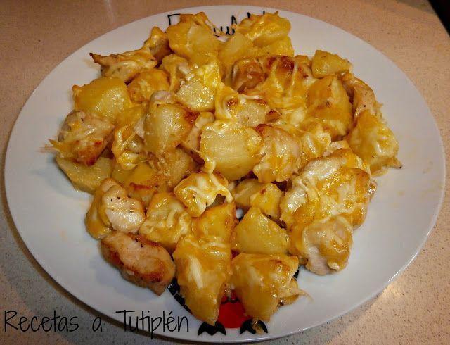 Pollo con patatas y queso al horno for Pechugas de pollo al horno con patatas