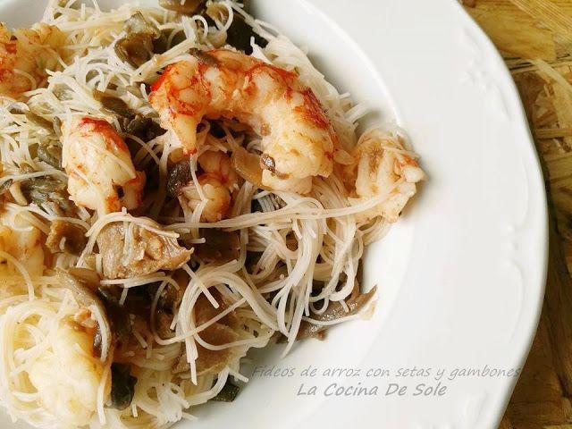 Fideos de arroz con setas y gambones for Arroz con setas y trufa
